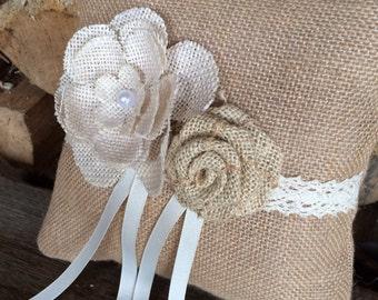 Ring Bearer Pillow/Burlap Ring Bearer Pillow/Wedding