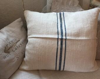 Vintage Linen Grain Sack Pillow Cover