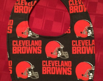 Baby Bib Cleveland Browns Fabric Print Oval Shape