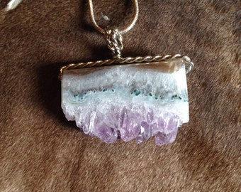 Amethyst wire wrapped pendant necklace