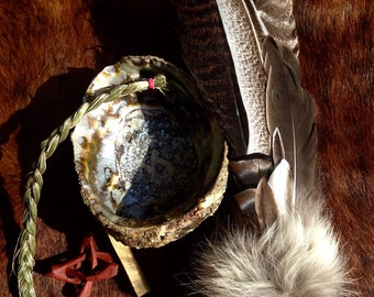 Ceremonial Feather Smudge Fan with Coyote Fur and Large Amethyst Point Specimen Large Kit + Sweetgrass