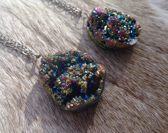Titanium druzy geode colorful necklace