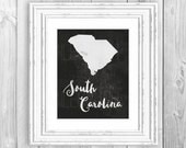 State Printable Black and White Watercolor State Wall Art Printable State Art South Carolina Print State Print South Carolina Silhouette Art