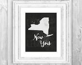 New York Print New York Love New York State Love New York State Print New York Map New York State Map New York Silhouette Map Art NY Decor