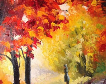 painting gold fall the beauty of autumn bright leaves indian summer oilpainting original art painting