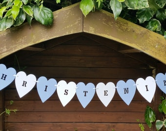 Blue and white Christening bunting/ banner. Boy's  heart shaped Christening banner with footprint cutout
