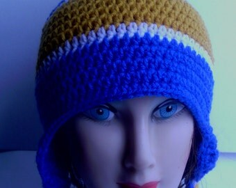 Crocheted blue,white and gold earflap hat