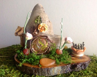 Miniature Fairy Garden House Driftwood Decorations Handmade Miniatures Miniature Hobbit House Terrarium Decorations OOAK Miniatures