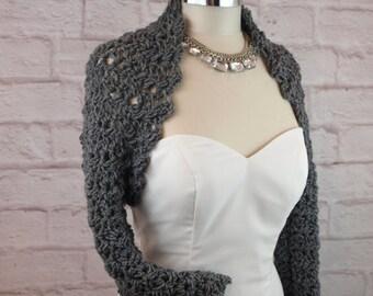Bridal Shrug Long Sleeve Shrug Bridesmaids Shrug Wedding Shrug Crochet Shoulder Cover Bolero Wedding Jacket Grey Shrug Winter Wedding