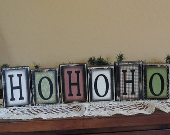 Ho Ho Ho Blocks- Christmas Blocks-Wood Blocks