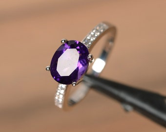 purple amethyst ring oval gemstone February birthstone promise ring sterling silver engagement ring anniversary gift for her