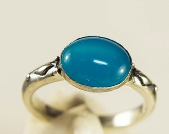 Neon Chalcedony Sterling Silver Ring