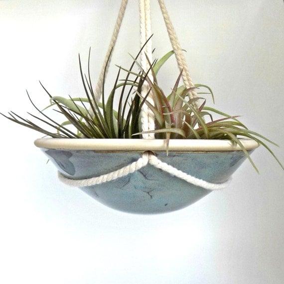 ceramic hanging planter hanging indoor pottery dish handmade. Black Bedroom Furniture Sets. Home Design Ideas