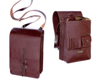 Ex-Army Leather Shoulder Bag Issued/Used Cross Body Vintage Spacious Brown Messenger 1970/80s