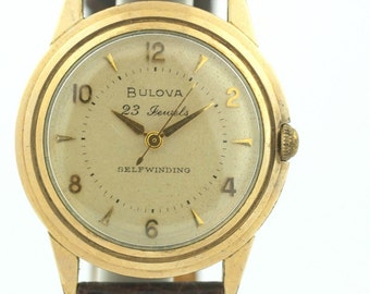 Vintage Bulova 10K Gold Plated Bezel 23 Jewels Leather Self Winding Men's Watch