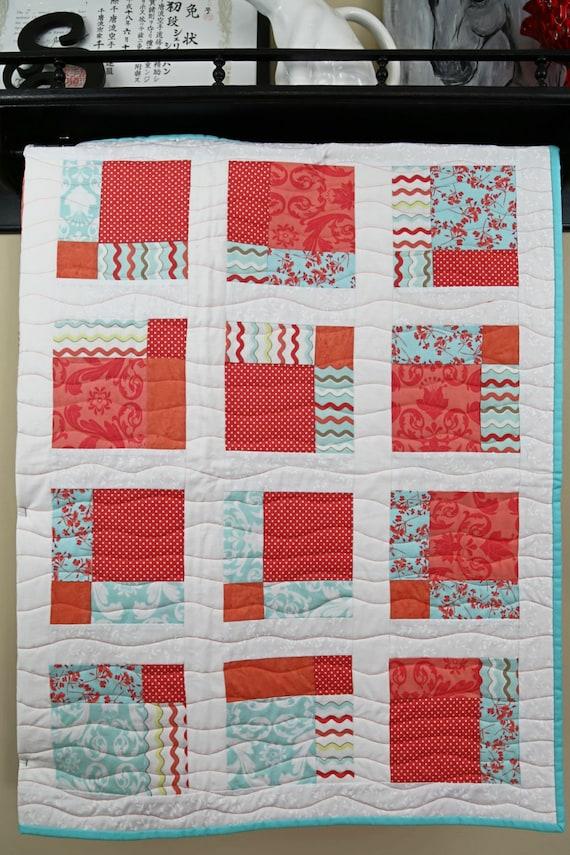 Patchwork floral chevron polka dot coral aqua white crib quilt