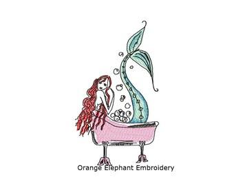 Mermaid Hand Drawn 5x7 and 4x4 Unique Urban Machine Embroidery Design digital File