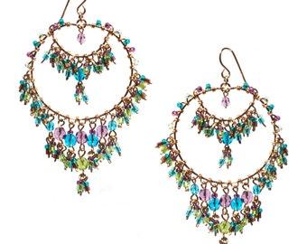 Multi Color Green Chandelier Earrings