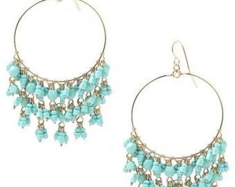 Chandelier Hoop Earrings, Turquoise Chandelier Earrings, Bohemian Chandelier Earrings, Turquoise Beaded Earrings, Boho Earrings, Beaded Hoop