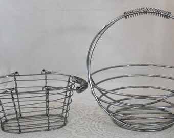 Pair of Silver Wire Baskets