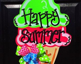 Ice cream Cone Door Hanger, Summer Door Hanger, Spring Door Hanger