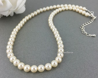 Swarovski Pearl Necklace, Pearl Necklace, Swarovski Necklace, Bridal Jewelry, Bridesmaid Necklace, Bridesmaid Gift, Available in White/Cream