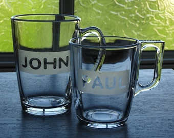 Personalized etched glass mugs