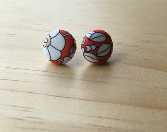 Liberty of London fabric covered button earrings / studs