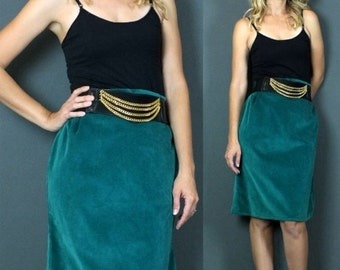 SALE Vintage 80s Green Velvet Vibrant High Waist Knee Length Pleated Skirt Size M/L