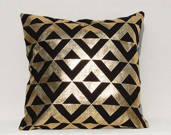 Gold Triangle pillow cover, Gold Cushion Cover, Geometric Pillow Case