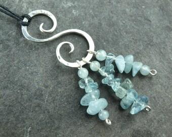 Pendant, sterling silver, spiral, aquamarine