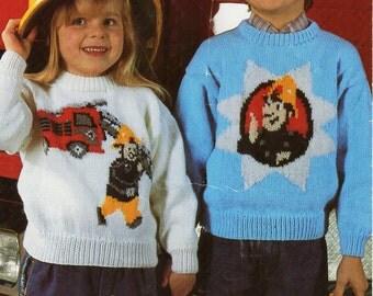 "childrens Fireman sam sweater knitting pattern pdf download childrens fireman motif jumper fire engine motif 22-28"" DK light worsted 8 ply"