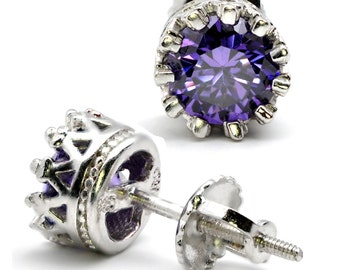 Amethyst Studs For February, 1ct Screw Backs .925 STERLING SILVER