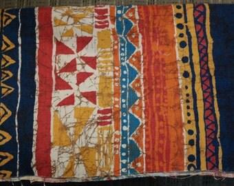Vintage Batik Printed Cotton Festive Tiki style fabric