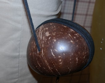 Vintage Coconut Zippered Purse with Long Strap- Very Clean Condition