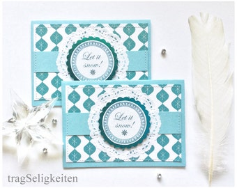 Holiday greeting cards, Christmas cards, Let it snow, season greetings, turquoise blue and white, Xmas cards, glitter snowflake, set of two