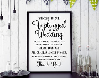 Unplugged Wedding Sign Wedding Poster Printable Sign, Wedding Ceremony Sign,No Cameras Phones Poster Instant Download (#L 058)