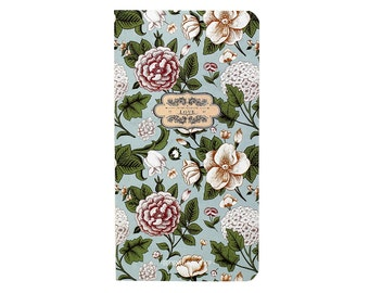 Flora Blank Journal-Winter Garden/B6/Hard Cover/Peony Flower/Blue/Blank Jounal/Nature/School/ Kraft Paper/Office/Pocket Journal/Love Themed