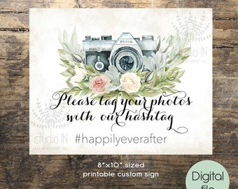 printable wedding instagram sign green custom sign, rustic instagram sign, floral wedding PRINTABLE,