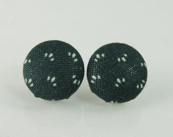 Green fabric button earrings