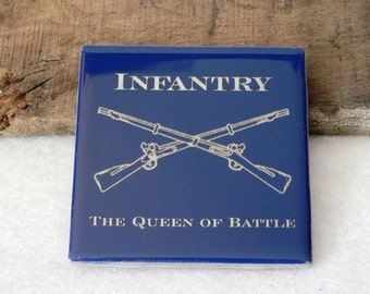 US Army Infantry Queen of Battle Engraved Ceramic Coaster