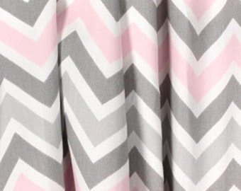 Gray and pink chevron curtains