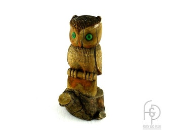 Primitive Folk Art Owl Carved from a Single Solid Tree Limb with Green Glass Eyes