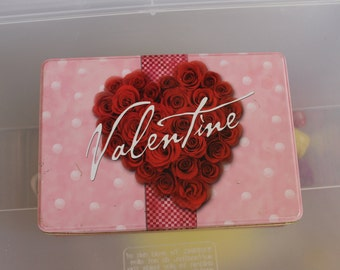 Vintage Valentine w Roses Tin For Food, or Candy, You Might Collect Tins, This is a Great One.  Valentine's Day Gift, Holiday Gift, Perfect