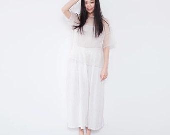 white linen loose wide leg pants trousers BonLife