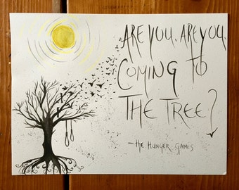 The Hunger Games Hanging Tree Art - Original Quote Painting -11x14 - Tree Art - Music - Song Lyric Art - Original Print