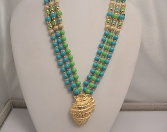 Vintage Retro Signed Gay Boyer Blue & Green Torsade Sea Shell Necklace