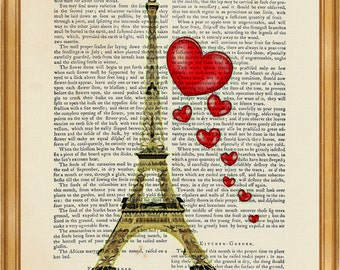 Eiffel Tower DICTIONARY ART PRINT on Vintage Dictionary Page 8'' x 10'' from up-cycled book