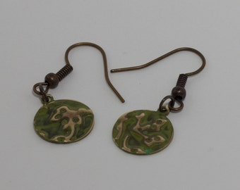 Leaf Earrings - Hand Embossed with Patina