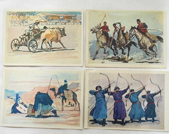 Sports games and competitions the world's peoples (Artist P. Pavlinov) - Set of 24 Vintage Postcards - Printed in the USSR, 1981